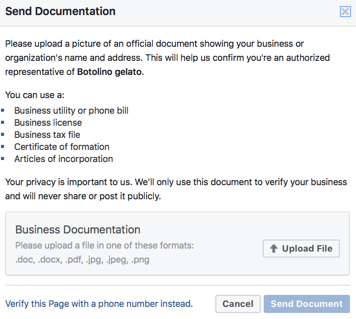 Facebook Settings Documentation Page
