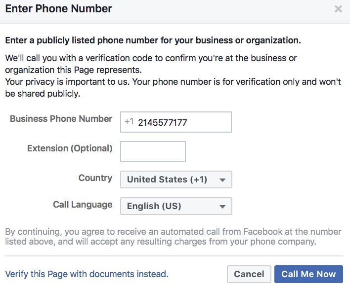 Facebook Settings Page
